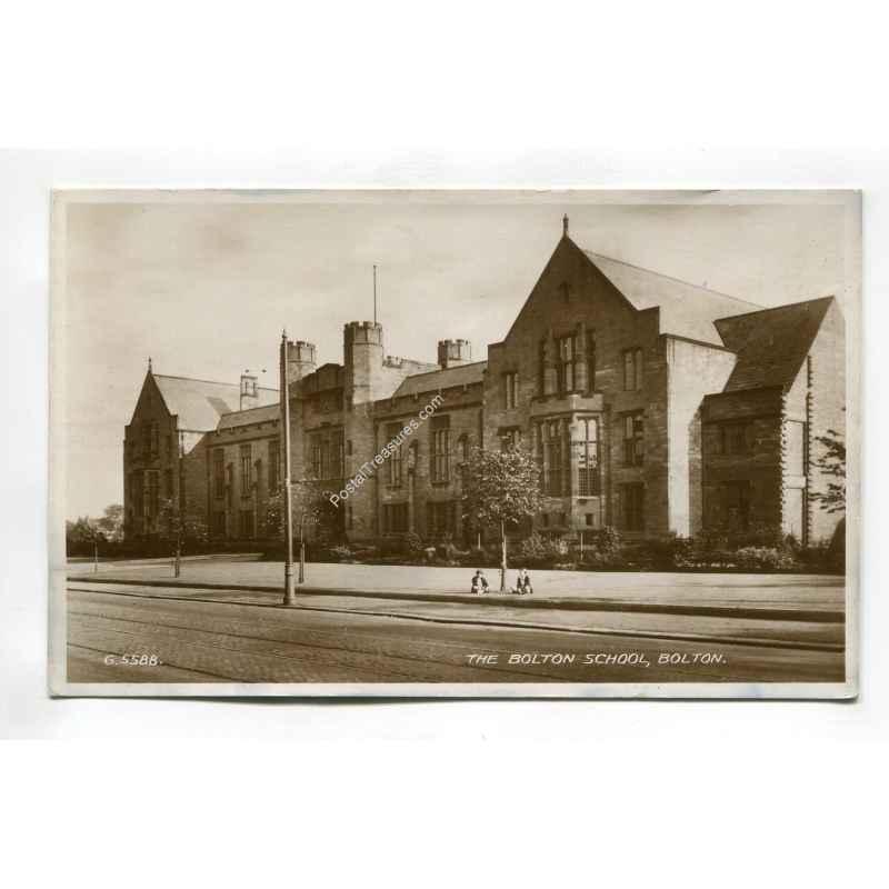 greater manchester   bolton school bolton vintage postcard