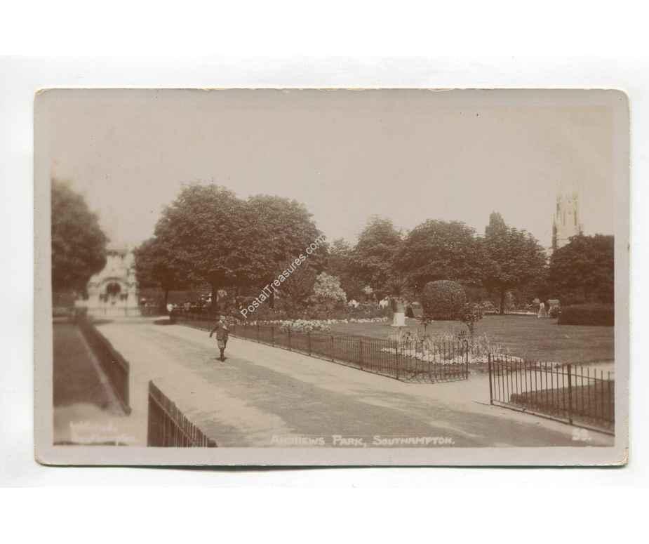 andrews park southampton vintage postcard