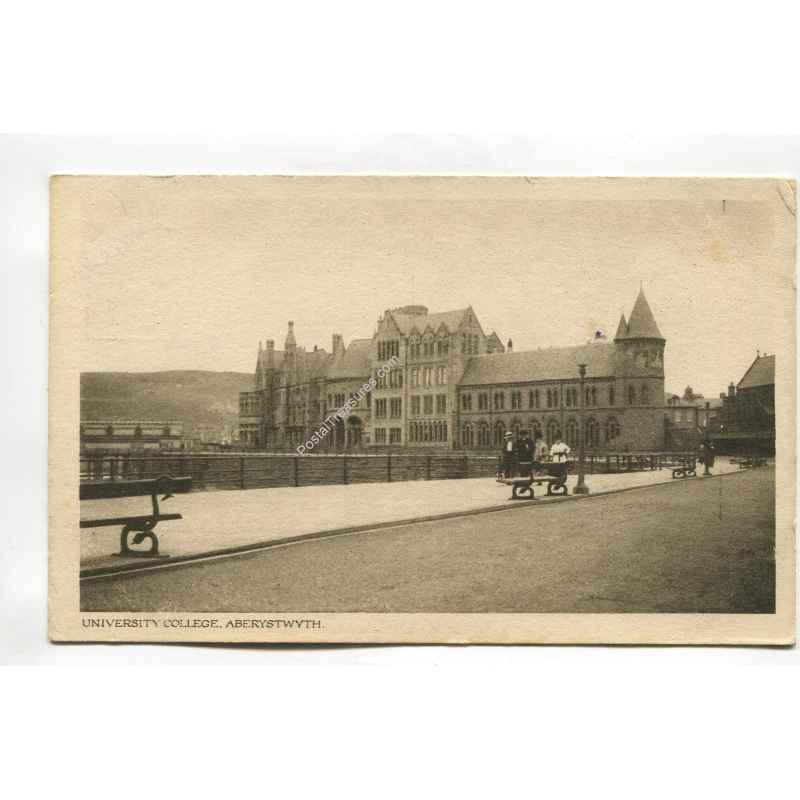 university college aberystwyth wales vintage postcard