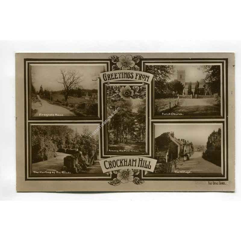 greetings from crockham hill vintage postcard