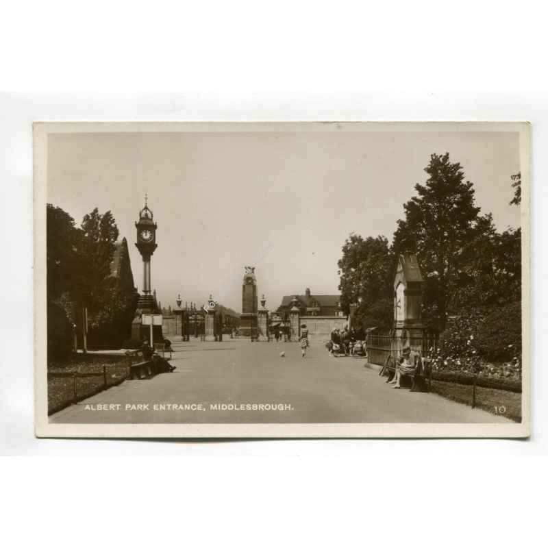 real photo   albert park entrance middlesborough vintage