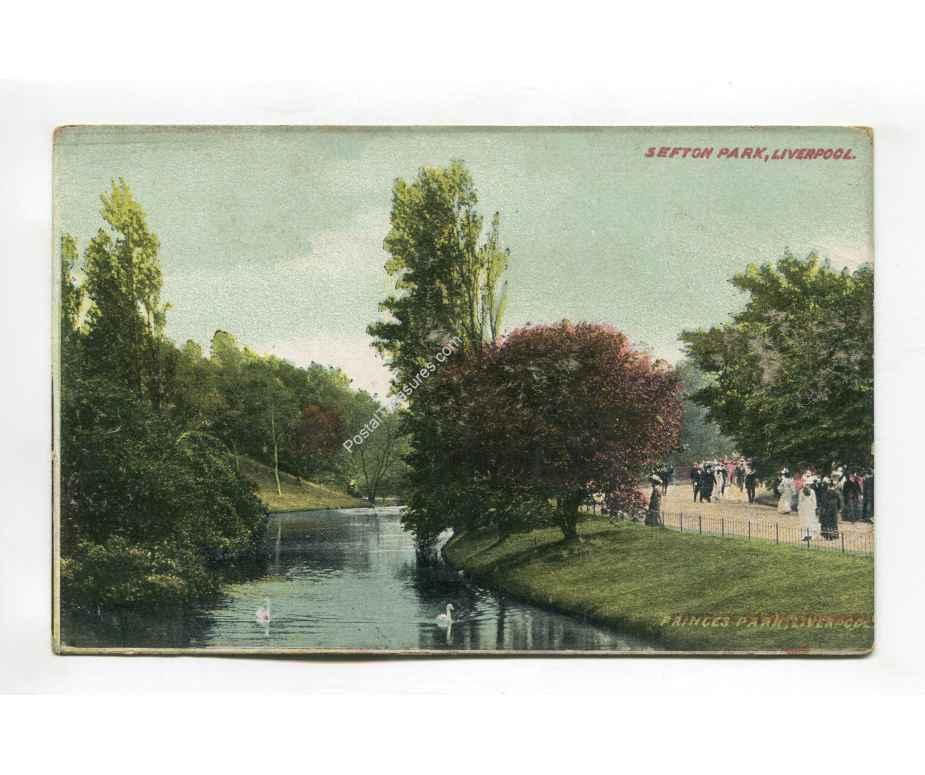 sefton park liverpool england vintage postcard