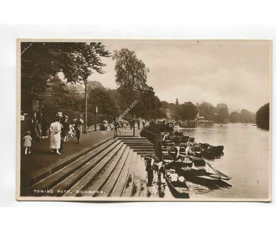 towing path richmond england vintage postcard