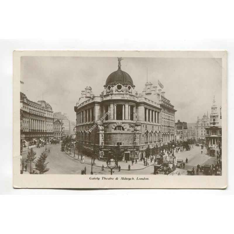 gaiety theatre and aldwych london vintage postcard